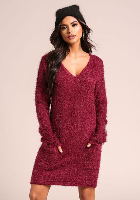 Plum Fuzzy Knit Pocket Sweater Dress