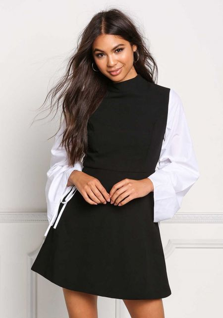 Black and White Two Tone Flared Dress