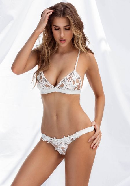 White Thick Waist Strap Floral Lace Panty