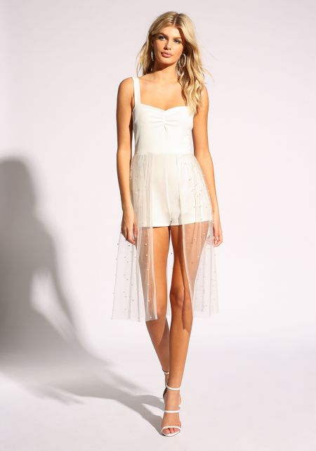 White Pearl Tulle Layered Romper