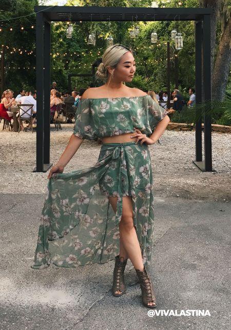 Green Floral Gauze Shorts Maxi Skirt