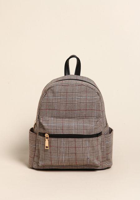Brown Plaid Leatherette Mini Backpack