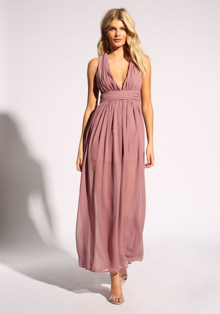 Mauve Cross Strap Gathered Maxi Dress