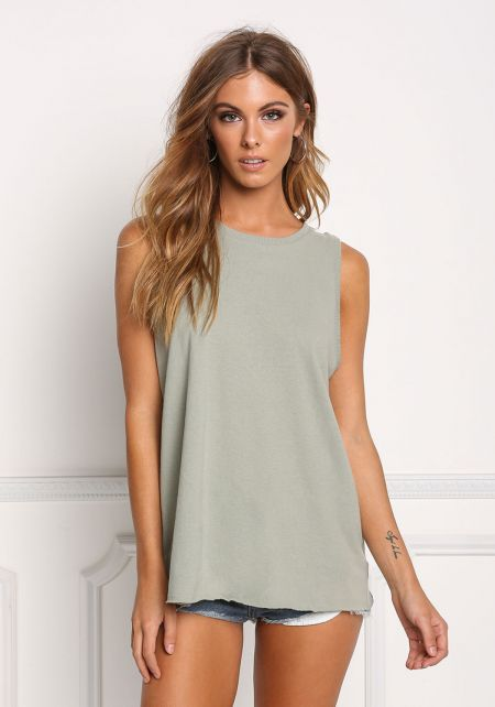 Sage Basic Boxy Tank Top