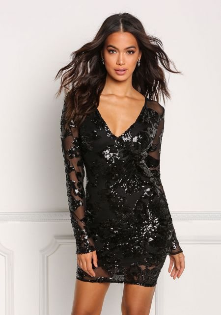 Black Mesh Sequin Plunge Bodycon Dress