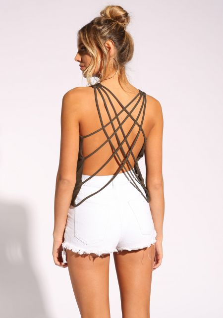 Olive Strappy Back Tank Top