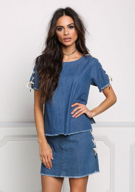 Denim Boxy Side Lace Up Blouse