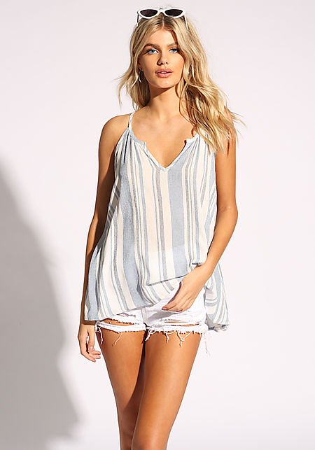 White and Navy Pinstripe Tank Top