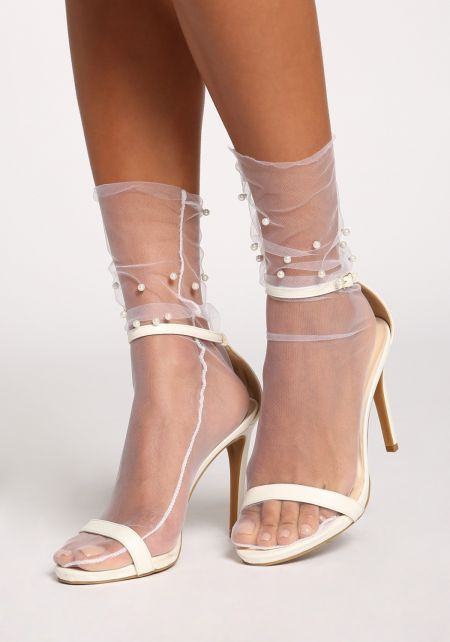 White Tulle Pearl Socks