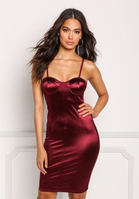 Burgundy Lustrous Satin Bustier Bodycon Dress