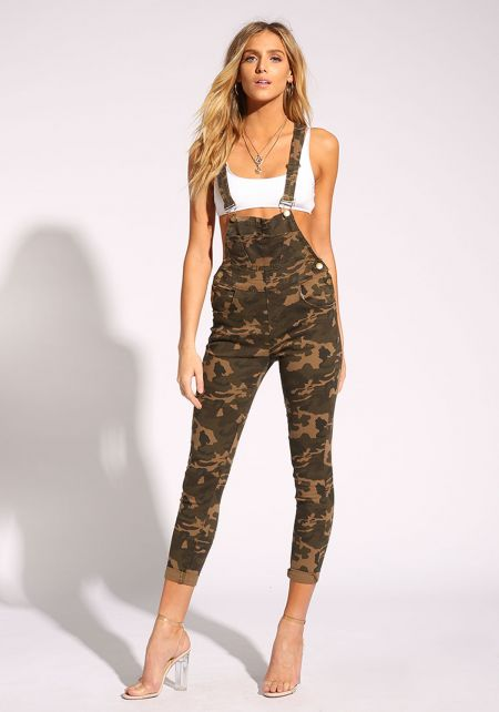 Camouflage Denim Skinny Leg Overalls