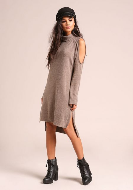 Taupe Cold Shoulder Hi-Lo Knit Shift Dress