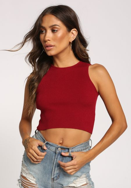 Burgundy Ribbed Knit Crop Top