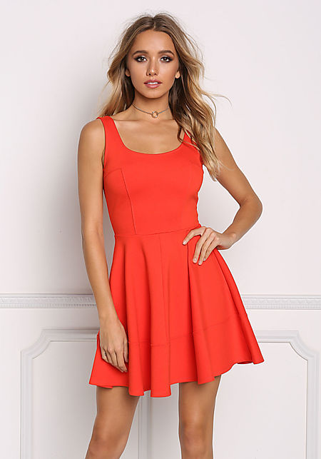 Rust Fit & Flare Dress