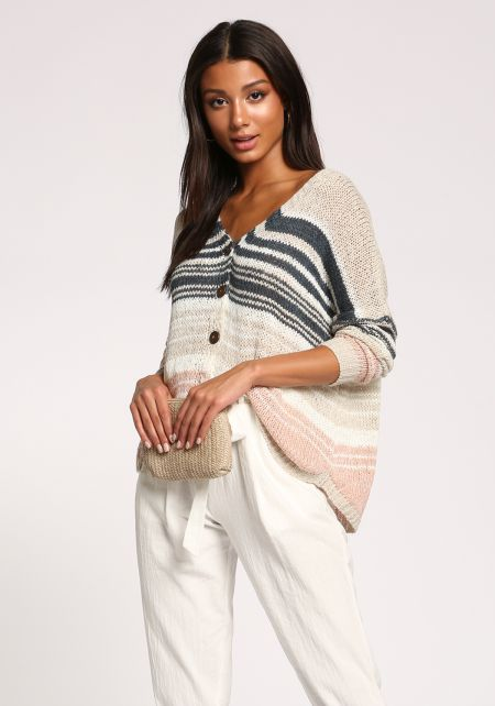 Multi Stripe Button Down Purl Knit Top