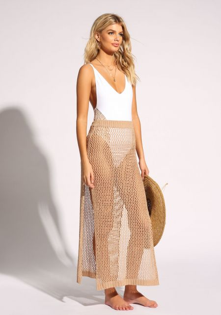 Taupe Crochet Slit Cover Up Maxi Skirt