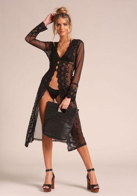 Black Lace Scallop Lingerie Robe