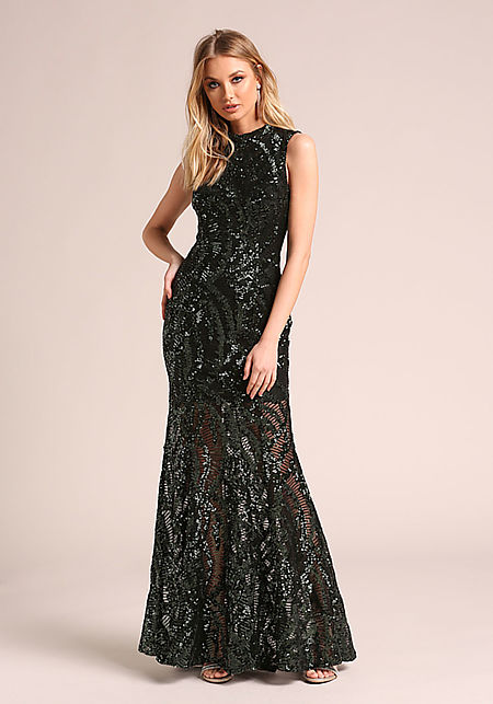 Hunter Green Back Cut Out Sequin Mermaid Gown