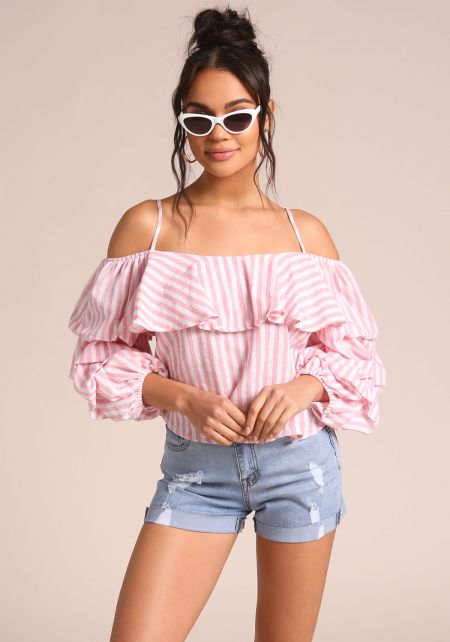 Pink Pinstripe Puff Sleeve Blouse
