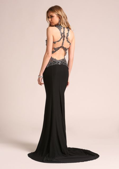 Black Embroidered Back Cut Out Sleek Gown