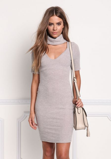 Light Mocha Soft Knit Turtleneck Bodycon Dress