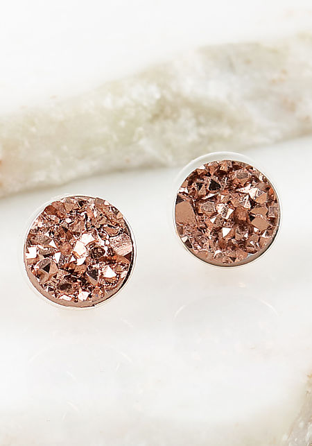 Rose Gold Crushed Stone Earrings