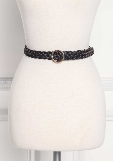 Black Leatherette Braided Belt