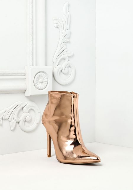 Rose Gold Chrome Pointed Booties