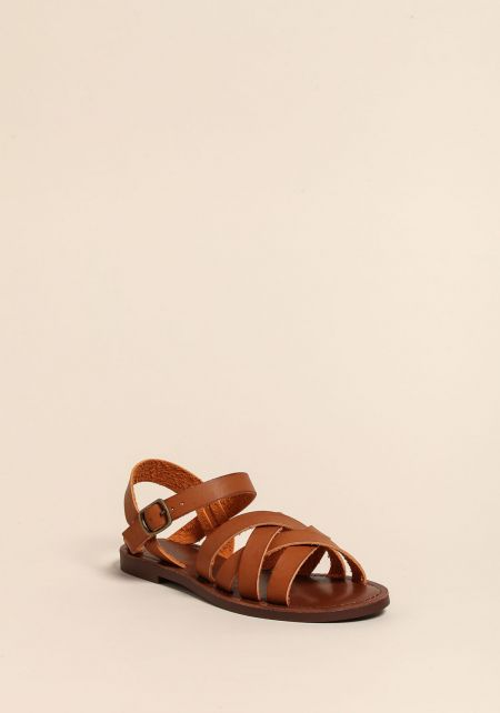 Tan Leatherette Gladiator Sandals