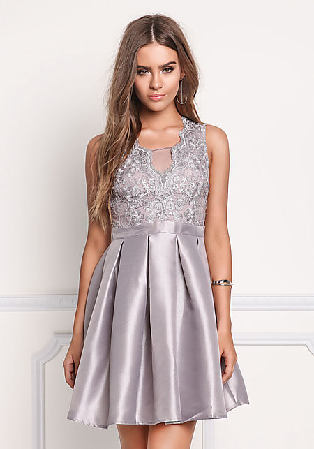 Grey Taffeta Embroidered Pleated Flare Dress