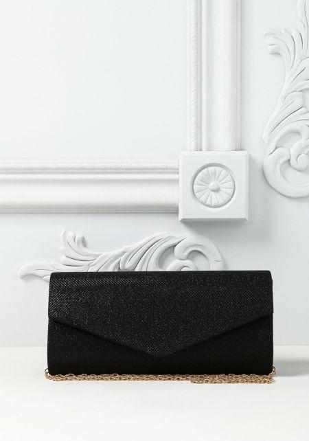 Black Shimmer Envelope Clutch
