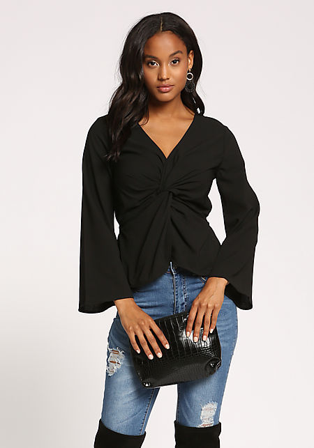 Black Twisted Wide Sleeve Blouse