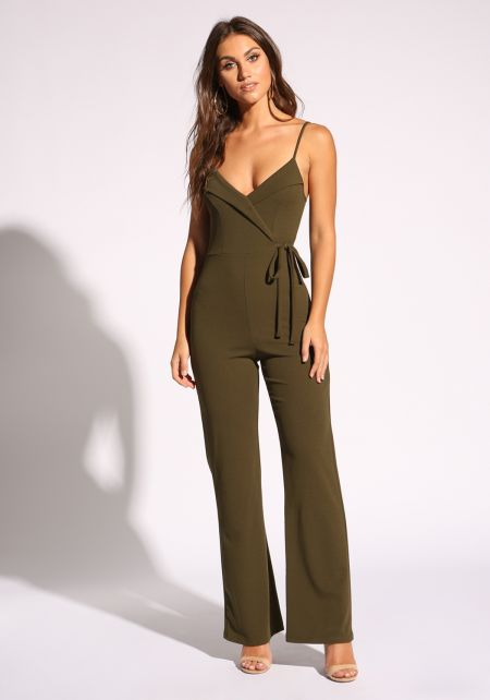 Olive Side Tie Plunge Jumpsuit