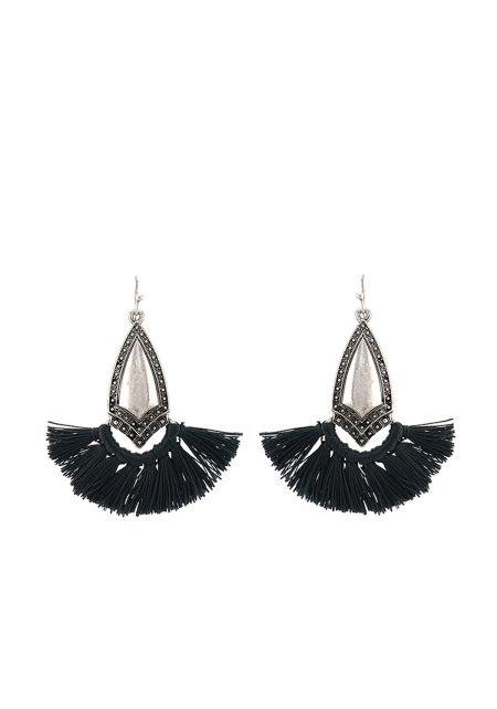Black Short Tassel Pendant Earrings