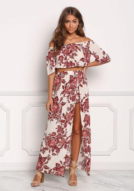 Beige Floral Crepe High Slit Maxi Skirt