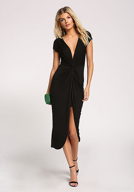 Black Twisted Hi-Lo Midi Dress