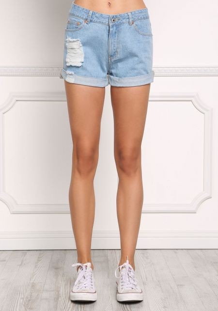 Light Denim High Rise Distressed Shorts