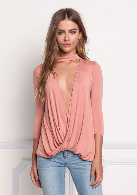 Salmon Plunge Surplice Jersey Knit Top