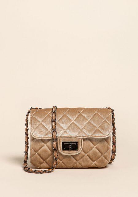 Khaki Quilted Velvet Crossbody Bag