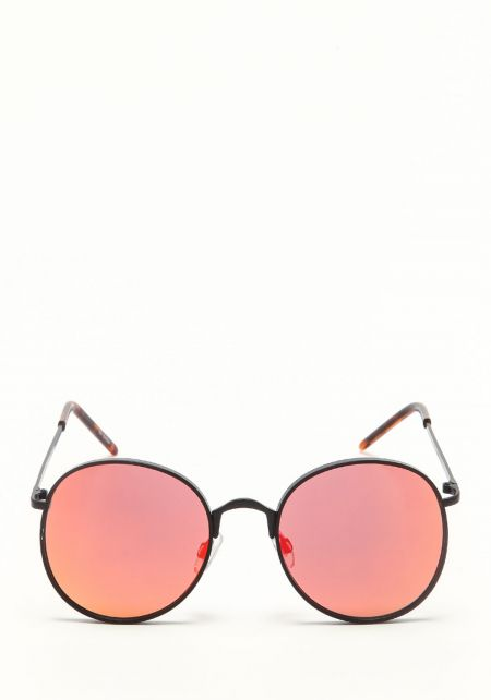 Zero UV Orange Round Mirrored Sunglasses