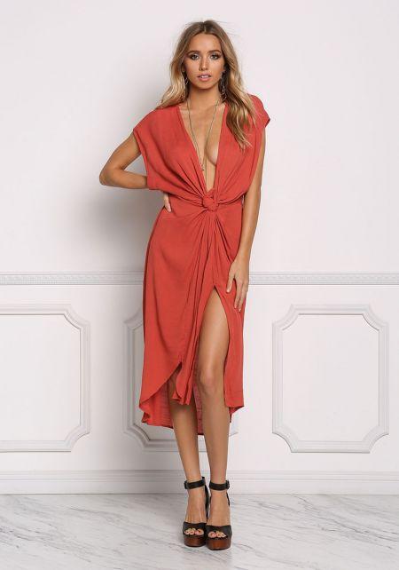 Rust Gauze Plunge Twisted Midi Dress