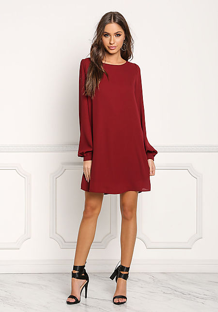 Burgundy Chiffon Long Sleeve Shift Dress