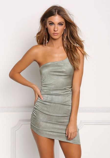 Olive One Shoulder Mini Bodycon Dress