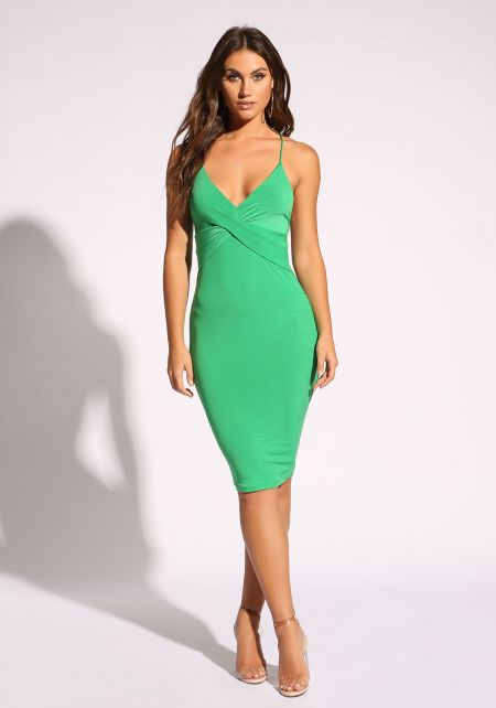 Green Low Back Cross Strap Dress