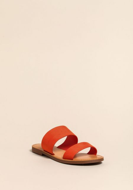 Orange Leatherette Sandals