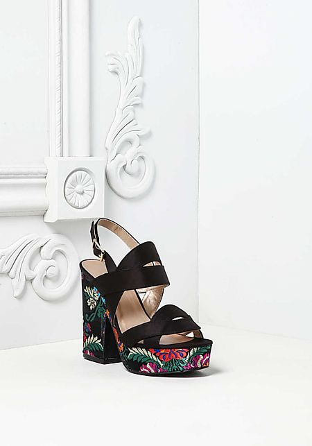 Black Silky Floral Embroidered Clog Heels