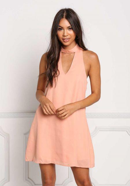 Peach Cut Out Choker Shift Dress