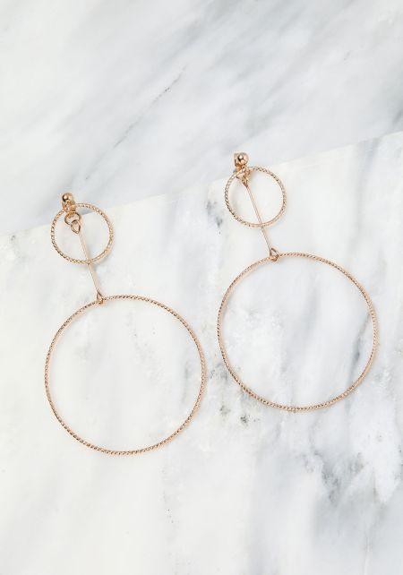 Gold Thin Double Hoop Earrings