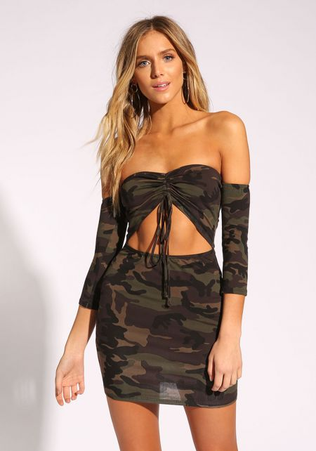 Olive Camouflage Cut Out Bodycon Dress