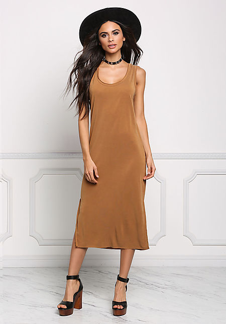 Camel Jersey Knit Slit Midi Dress